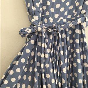 Modcloth Dresses - ModCloth Fit and Flare Blue Polka Dot Rayon Dress